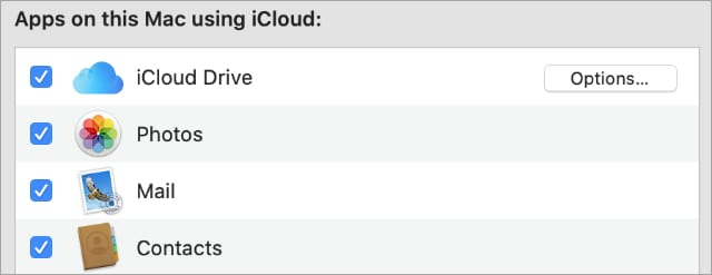 iCloud apps in System Preferences