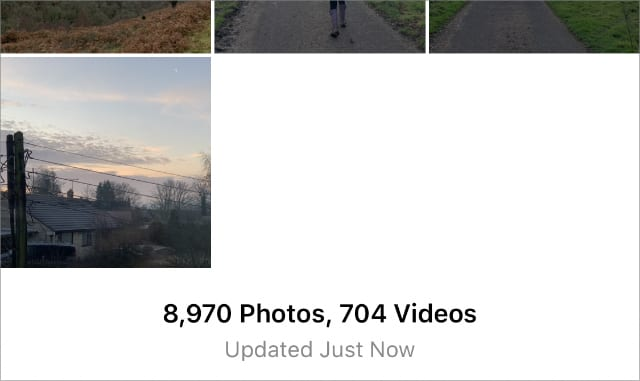 """iPhone Photos app saying """"Updated Just Now"""""""