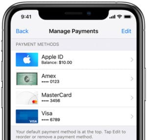 iPhone X showing Apple ID payment methods