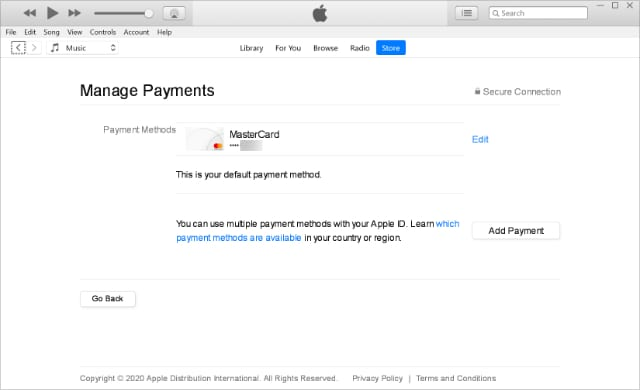 iTunes manage payments page