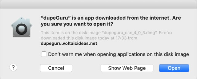 macOS warning alert when downloading apps from the Internet