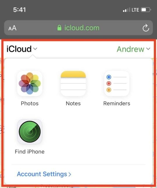 Access other services iCloud Web