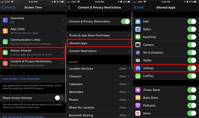 restrict AirDrop access on iPhone and iPad