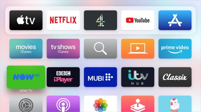 Apple TV apps with numerous streaming services