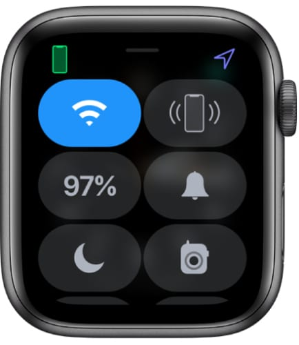 Apple Watch control center with green iPhone icon