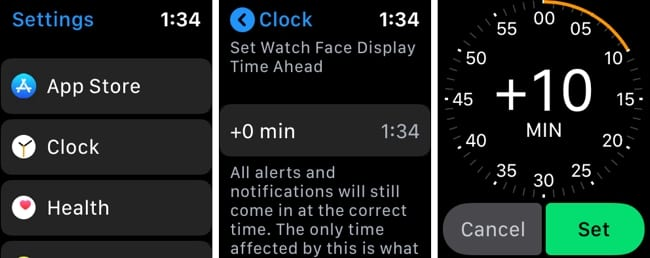 Apple Watch Set Time Ahead