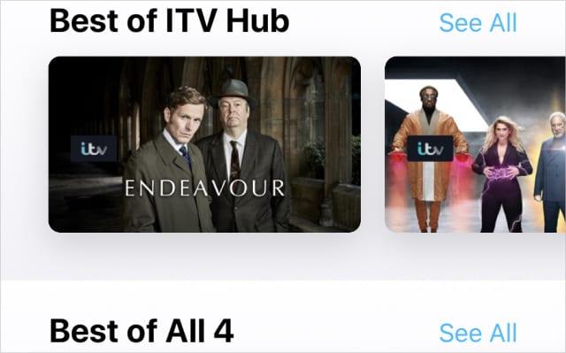 Best of ITV Hub and All 4 on Apple TV app