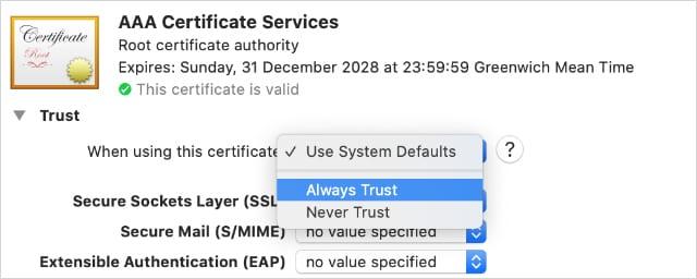 Certificate trust settings in Keychain Access app