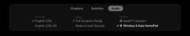 Apple TV speaker menu