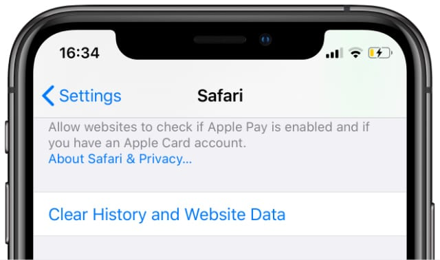 Clear History and Website Data option in Safari settings on iPhone