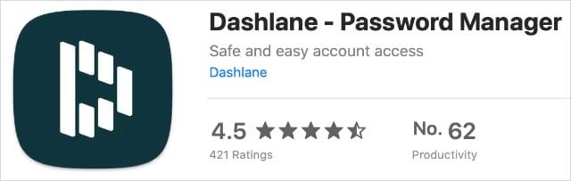 Dashlane extension on Mac App Store