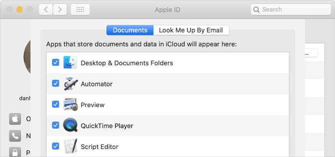 Desktop & Documents Folders option in iCloud Drive settings