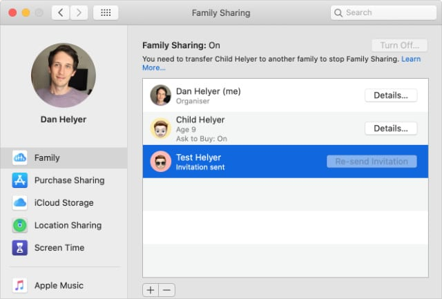 Family Sharing System Preferences on Mac