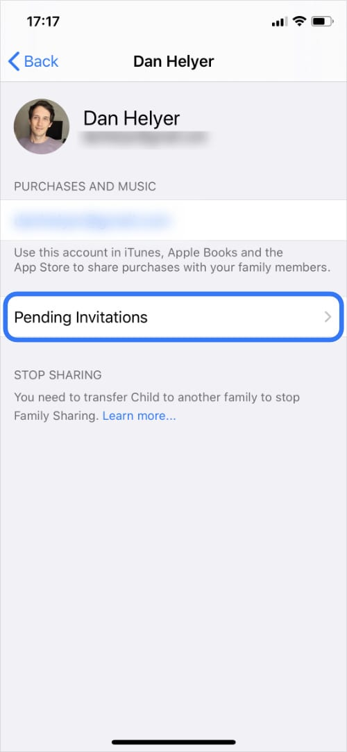 Family organizer settings on iPhone with Pending Invitations highlighted