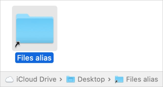 Files alias folder in Finder with file path