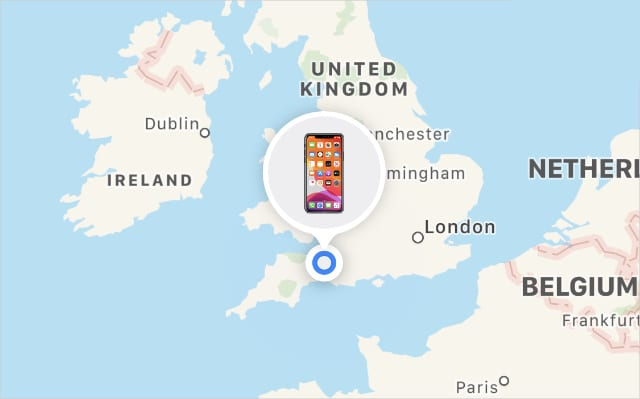 Find My iPhone on a map