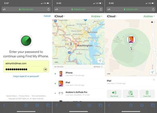 Find iPhone iCloud Web