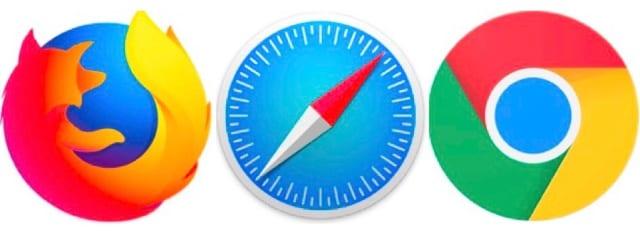 Firefox, Safari, and Chrome browser logos