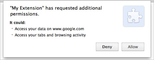 Google Chrome extension asking for permission