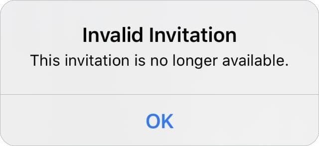 Invitation Invalid error message for Family Sharing