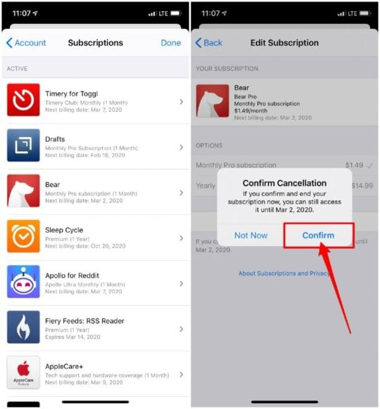 Manage Subscriptions from App Store