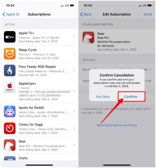 Manage Subscriptions from iPhone Settings app