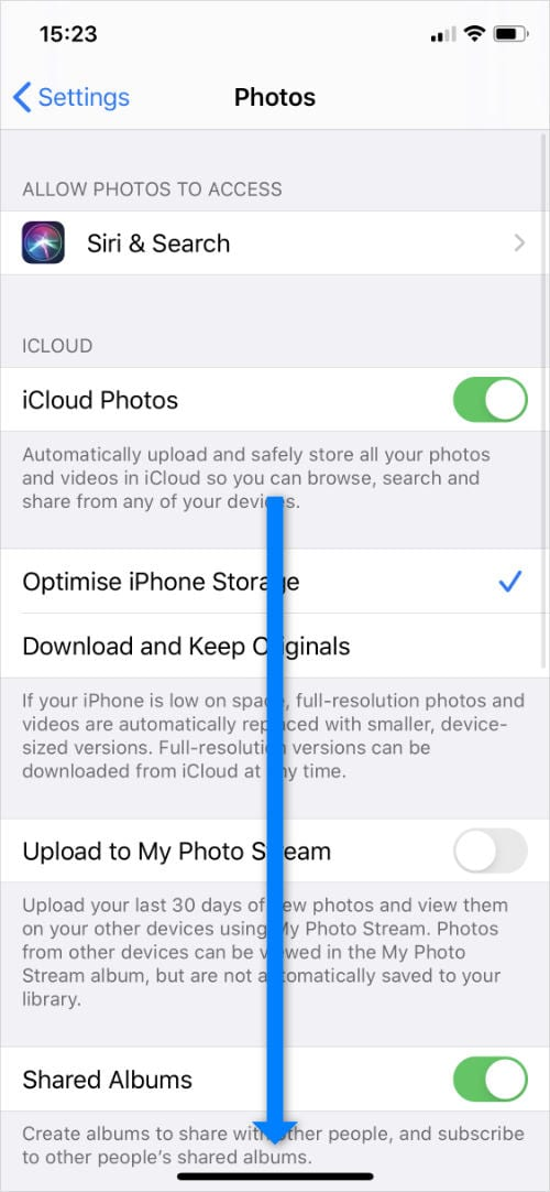 Photos settings app with scroll arrow in iPhone settings