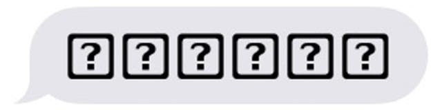 Question mark in box symbol instead of emoji on iPhone