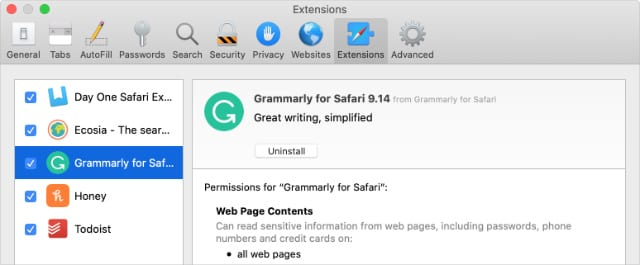 Safari Extensions Preferences with Uninstall button for Grammarly