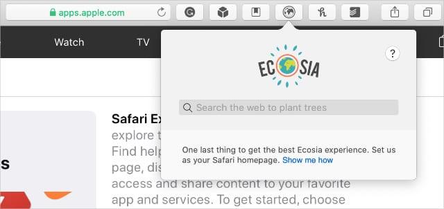 Safari extensions in toolbar showing Ecosia window