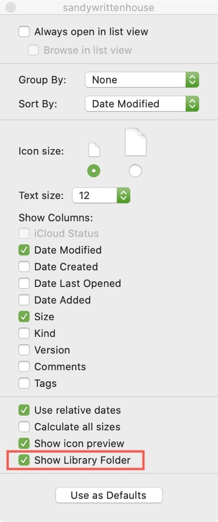 Show Library Folder View Options Mac