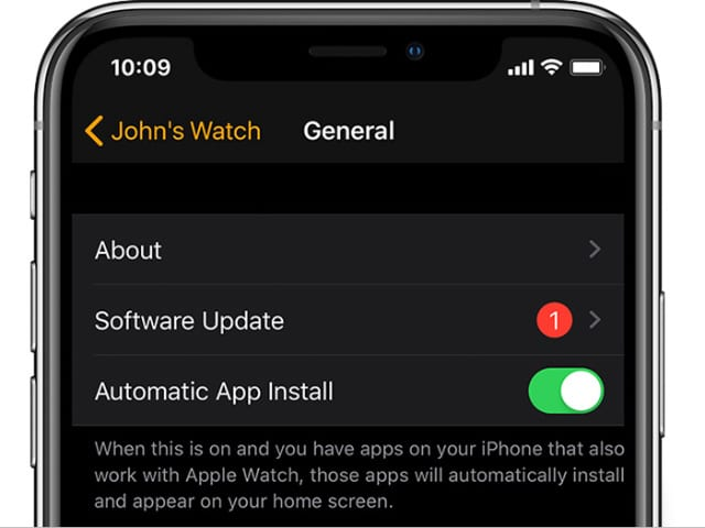 Software Update options from Apple Watch app