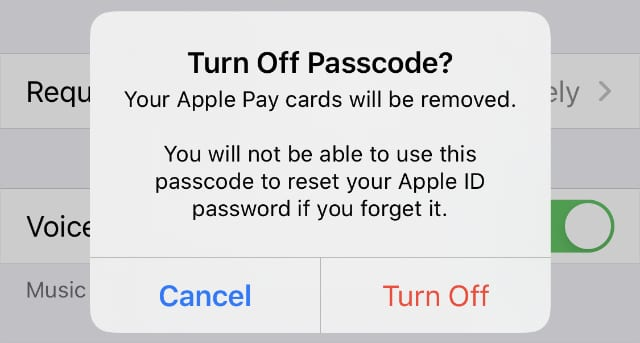 Turn off passcode from iPhone settings