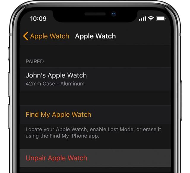 Unpair Apple Watch button on iPhone app