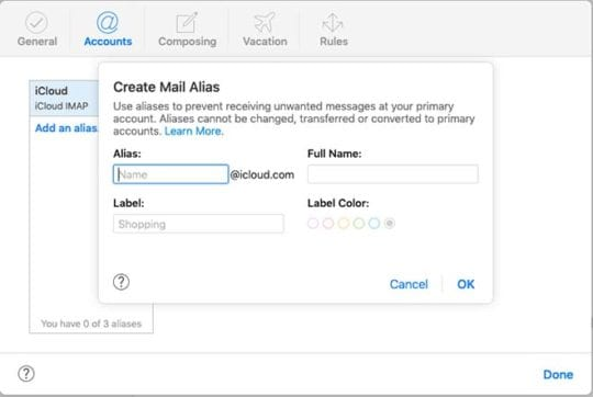 iCloud Aliases - Create