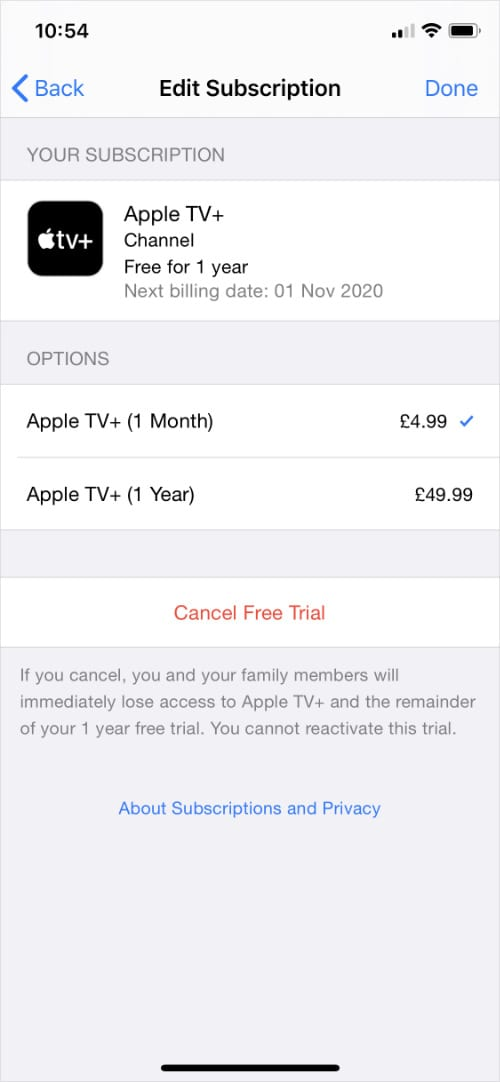 iPhone Apple TV+ subscription settings