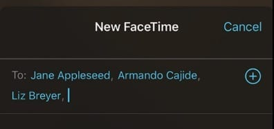 Add contacts to FaceTime Call