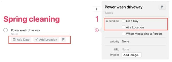 Add Date Location Flag Reminders-Mac