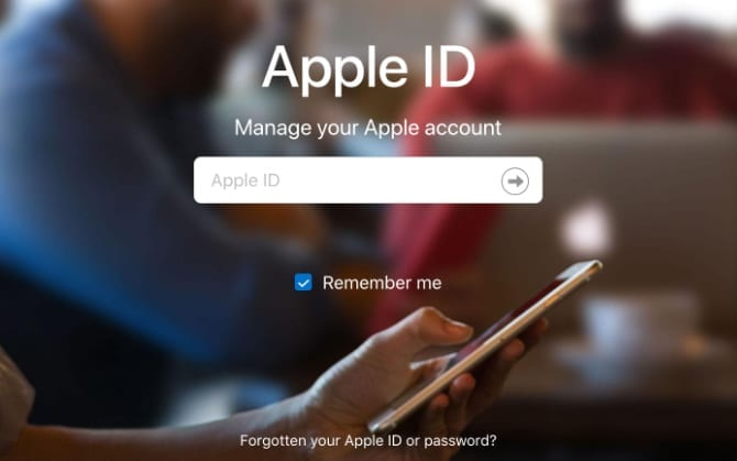 Apple ID website sign in window