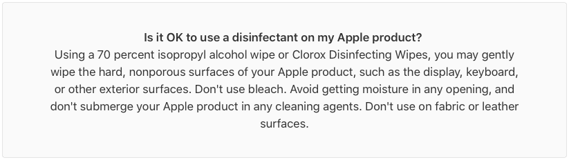 Apple warning for using disinfectants with Apple products