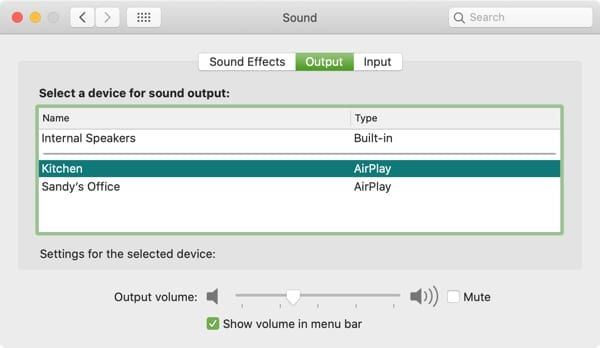 Audio Output HomePod-Mac
