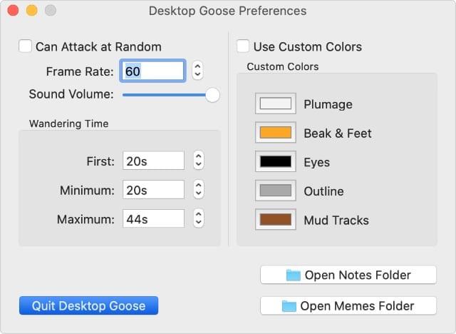 Desktop Goose settings with Quit Desktop Goose button