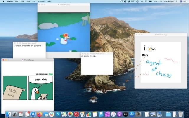 Desktop filled with memes from Desktop Goose
