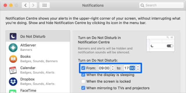 Do Not Disturb schedule options in System Preferences on Mac