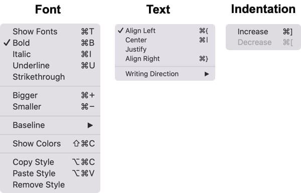 Font Text Indent Notes-Mac