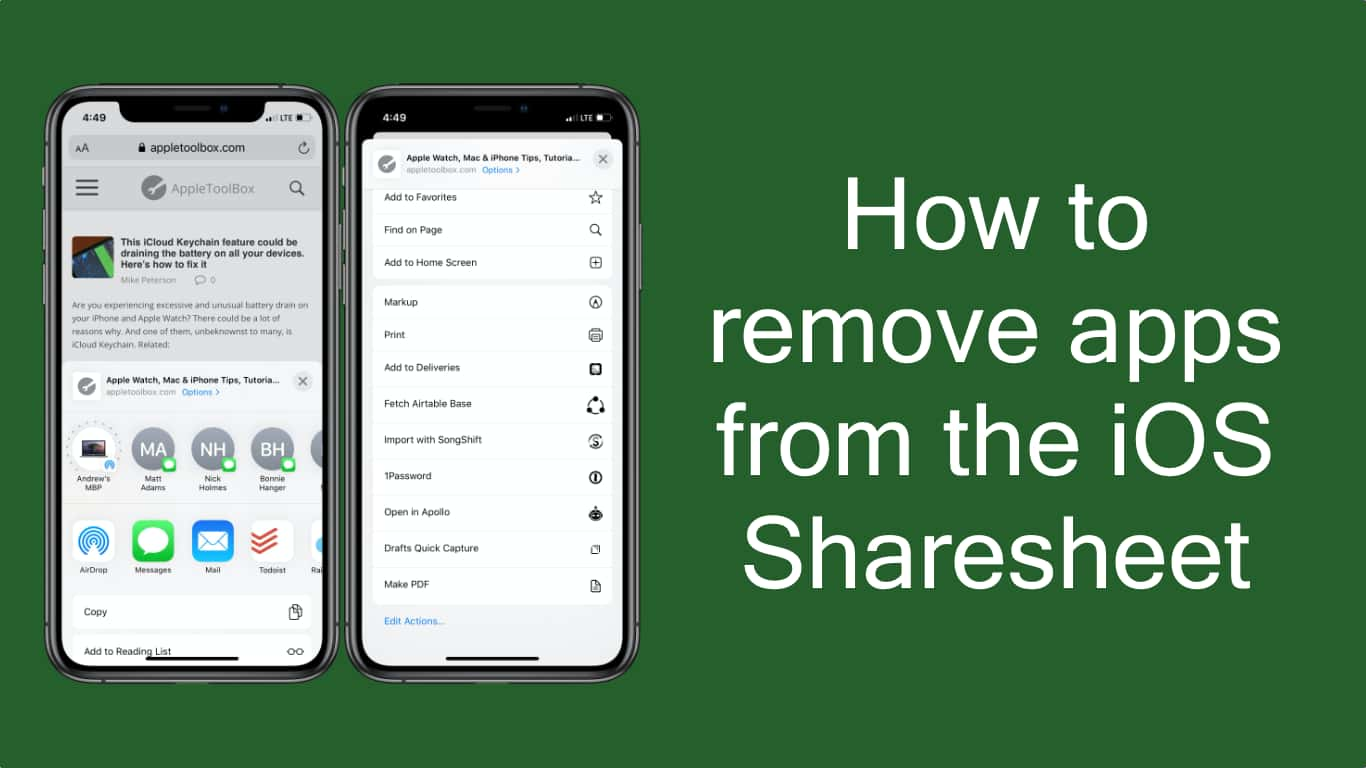 How to remove apps from the iOS Sharesheet Hero