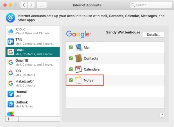 Internet Accounts Add Notes-Mac