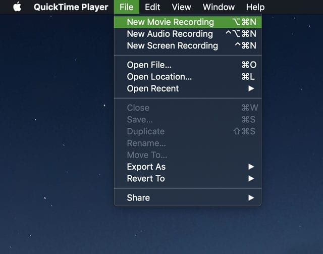 New Movie Recording in Quicktime