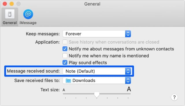 Message received sound option in Messages preferences on Mac