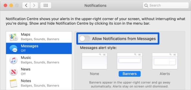 Messages Notifications option in System Preferences on Mac